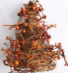 MIXED BERRY CONE TREE WITH RUST STARS, 10IN HIGH(5.5IN DIA),