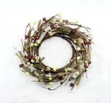 4.5 IN BROWN BURLAP CANDLE RING W/BROWN AND CREAM MIXED BERR