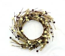 4.5 IN BROWN BURLAP CANDLE RING W/BURGUNDY AND CREAM MIXED B