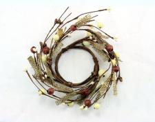 2.5 IN BROWN BURLAP CANDLE RING W/BROWN AND CREAM MIXED BERR