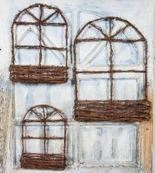 GRAPEVINE WINDOW BASKET, SET OF 3, 10X2.5X14.5, 12.5X3X17.5,