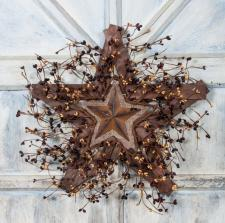 BURLAP AND TIN STAR WITH BERRIES ON WOODEN STAR, 18 IN, BURG