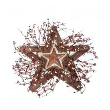 BURLAP AND TIN STAR WITH BERRIES ON WOODEN STAR, 18 IN, RED,