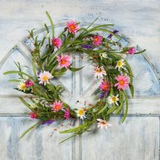 DAISY AND FORSYTHIA WREATH WITH GREENERY AND RICE BERRIES, 1