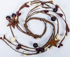 1.5 IN MIXED BERRY CANDLE RING WITH STARS; BURGUNDY, CREAM