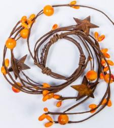 1.5 IN MIXED BERRY CANDLE RING WITH STARS; ORANGE
