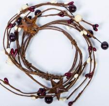 2.5 IN MIXED BERRY CANDLE RING WITH STARS; BURGUNDY, CREAM
