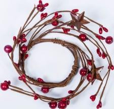 2.5 IN MIXED BERRY CANDLE RING WITH STARS; RED