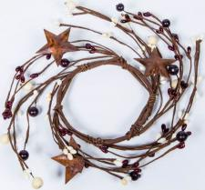 3.5 IN MIXED BERRY CANDLE RING WITH STARS; BURGUNDY, CREAM
