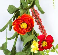 DAHLIA GARLAND, 59 IN., RED, ORANGE, YELLOW