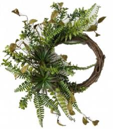 ASSORTED SUCCULENT/GREENS  WREATH ON A TWIG BASE, 10 IN DIA