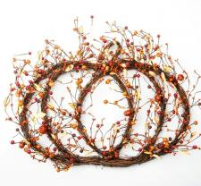 PUMPKIN SHAPED TWIG WREATH W/MIXED ORANGE BERRIES & MINI PUM